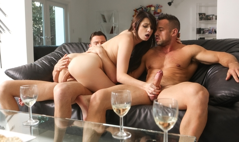 First-time threesome for sexy Aspen Ora